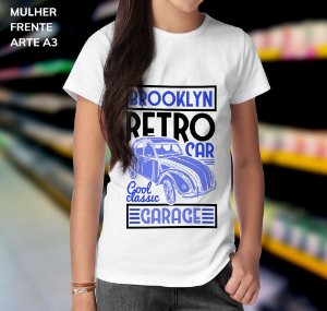 Camisa 100% Poliéster Personalizada Brooklyn Retro Car Good Classic Garage - 01 Unidade