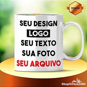 Caneca Cerâmica 325ml Branca Motto Mug Copacabana Personalizada (Com Seu Arquivo) (2111) - 01 Unidade