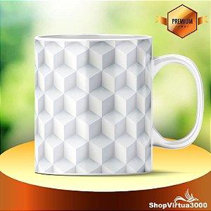 Caneca Cerâmica Classe +AAA Personalizada Fundo Cubos 3D - 01 Unidade