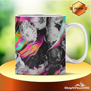 Caneca Cerâmica Classe +AAA Personalizada Flores Psicodélicas - 01 Unidade