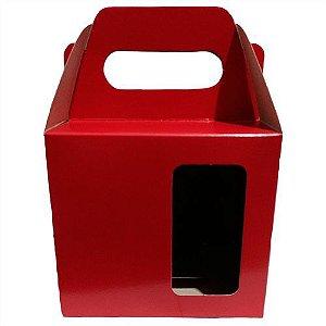 Caixinha para Caneca Vermelho Com Visor e Alça Reforçada Em Papel Duplex 275g 10cm x 10cm para Canecas ou Artigos Diversos (AL3009) - 10 Unidades