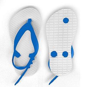 Chinelo Borracha Liso para Personalizar Transfer Laser, Silk, Strass Tira Baby Azul Royal e Sola Branca Tamanho 21/22 (SP312) - 01 Unidade
