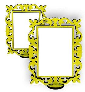 Porta Retrato Linha Arabesco Colorido Amarelo Mdf 9mm Tamanho 15x20cm Com 01 Peça Branca Resinada para Sublimação 14x9cm Ultra Brilho - 01 Unidade (PH1437)