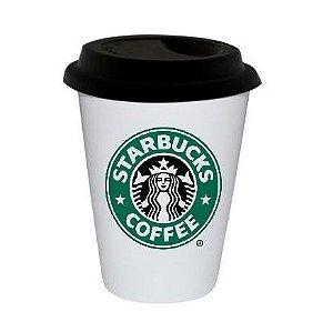 Copo Branco Modelo Trip Starbucks 300ml - Tampa Preto - 01 Unidade