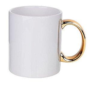 Caneca Ceramica 325ml Alça Cromada Dourada Premium Para Sublimação (2782) - 01 Unidade