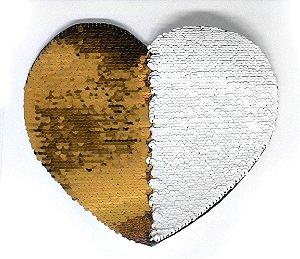 Aplique de Lantejoulas Dupla Face Coração 19 X 22cm Dourado e Branco Sublimáticos ShopVirtua3000® (2170)