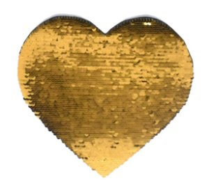Aplique de Lantejoulas Dupla Face Coração 19 X 22cm Dourado e Branco Sublimáticos ShopVirtua3000® (2171)