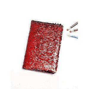 Agenda Pautada Com Capa Lantejoula Mágicas Vermelho Com Branco Para Sublimação Tamanho A5 (3084) - 01 Unidade