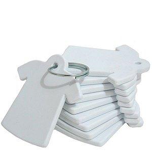 Chaveiro Em Polímero Branco para Sublimação Formato Camiseta Com Argola - Pacote Com 10 Unidades