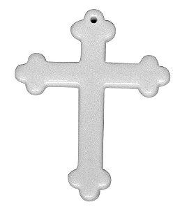 Chaveiro Em Polímero Branco para Sublimação Formato Cruz Com Argola - Pacote Com 10 Unidades