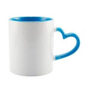 Caneca Cerâmica Branca Com Alça de Coração e Interior em Azul Claro 325ml Resinada P/ Sublimação (2945) - 01 Unidade