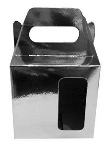 Caixinha de Caneca Metalizada Espelhada com Alça - Janela - Fundo Automático (Al3017) - 100 Unidades