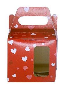 Caixinha de Caneca Vermelho C/ Coração Janela Fundo Automático (AL3026) - 50 Unidades
