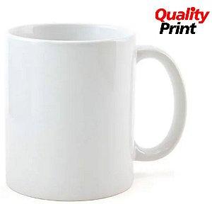 Caneca Cerâmica QUALITYPRINT® Branca Classe B 325ml Importada Resinada P/ Sublimação (3000) - 01 Unidade