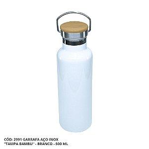 Garrafa Térmica Linha Luxo Tampa Bambu em Inox Sublimável Branca 500ml (ShopVirtua3000®) (2991) - 01 Unidade (PROMO TOP)