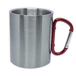 Caneca Inox Prata 300 ml com Alça Mosquetão Vermelho Resinada para Sublimação (3424) - 01 Unidade