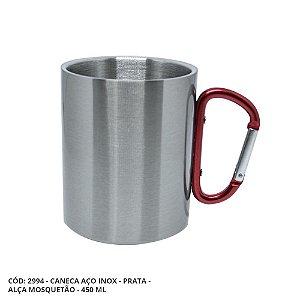Caneca Inox Prata 450 ml com Alça Mosquetão Vermelho Resinada para Sublimação (2994) - 01 Unidade