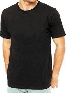 Camisa Tamanho Modelo Gola Careca Unissex 100% Algodão Preto - 01 Unidade