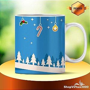 Caneca Cerâmica Classe +AAA Personalizada 325ml Cenário Natal Stickers - 01 Unidade (PEDIDO MÍNIMO DE 12 UNIDADES DESTE PRODUTO OU VARIADOS)