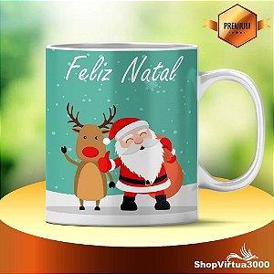 Caneca Cerâmica Classe +AAA Personalizada 325ml Feliz Natal Papai Noel e Rena - 01 Unidade (PEDIDO MÍNIMO DE 12 UNIDADES DESTE PRODUTO OU VARIADOS)