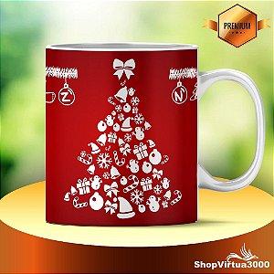 Caneca Cerâmica Classe +AAA Personalizada 325ml Natal Árvore Silhouette - 01 Unidade (PEDIDO MÍNIMO DE 12 UNIDADES DESTE PRODUTO OU VARIADOS)