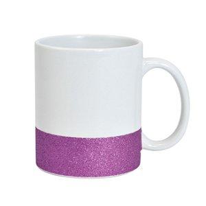 Caneca Cerâmica Base Glitter Lilás ShopVirtua3000® 325ml Resinada P/ Sublimação (2951) - 36 Unidades