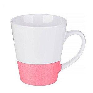 Caneca Cerâmica Cônica Base Glitter Rosa ShopVirtua3000® 325ml Resinada P/ Sublimação (2953) - 01 Unidade
