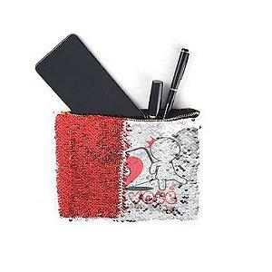 Necessaire de Lantejoulas Mágicas Dupla Face Vermelha e Branca - 16.5x20.5cm (2599)
