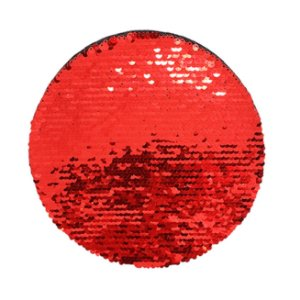 OBM - Aplique de Lantejoulas Dupla Face Redondo 19cm Vermelho e Branco Para Sublimação (2176) (Promoção Natal)