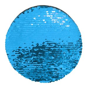 OBM - Aplique de Lantejoulas Dupla Face Redondo 19cm Azul Claro e Branco Para Sublimação (2180)