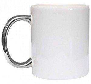 Caneca Ceramica 325ml Alça Cromada Prata Premium (2783)