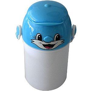Garrafa Infantil Para Sublimação em Plástico Com Tampa Decorativa Azul 400ml (2371) - 01 Unidade (Dia das Crianças)