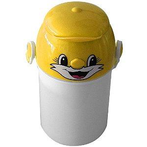 Garrafa Infantil Para Sublimação em Plástico Com Tampa Decorativa Amarela 400ml (2373) - 01 Unidade (Dia das Crianças)
