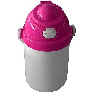 Garrafa Infantil Para Sublimação em Plástico Com Tampa Simples Rosa 400ml (2376) - 01 Unidade (Dia das Crianças) (PROMO BOAS FESTAS)