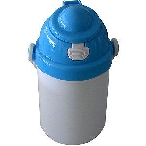 Garrafa Infantil Para Sublimação em Plástico Com Tampa Simples Azul 400ml (2375) - 01 Unidade (Dia das Crianças)