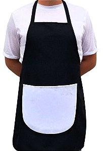 Avental Adulto Unissex Preto Com Bolso Branco Oxford Para Sublimação - 01 Unidade