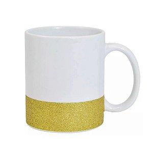 Caneca Cerâmica Base Glitter Dourada ShopVirtua3000® 325ml Resinada P/ Sublimação (2949) - 01 Unidade