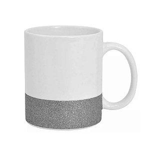 Caneca Cerâmica Base Glitter Prata ShopVirtua3000® 325ml Resinada P/ Sublimação (2950) - 01 Unidade