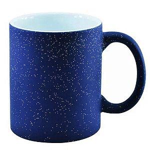 Caneca Cerâmica Mágica Azul Fosca Com Glitter 325ml Resinada P/ Sublimação (3224) - 01 Unidade