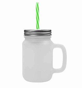 Caneca Mason Jar Com Tampa e Canudo Cor Verde em Vidro Jateado 475ml para Sublimação (2087) - 24 Unidades