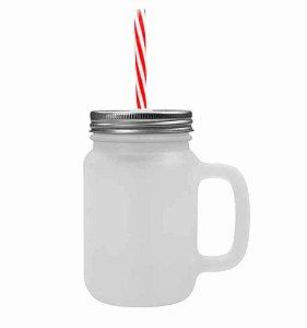 Caneca Mason Jar Com Tampa e Canudo Cor Vermelho em Vidro Jateado 475ml para Sublimação (2088) - 24  Unidades
