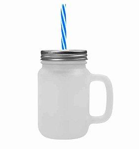 Caneca Mason Jar Com Tampa e Canudo Cor Azul em Vidro Jateado 475ml para Sublimação (2089) - 01 Unidade