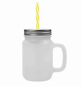 Caneca Mason Jar Com Tampa e Canudo Cor Amarelo em Vidro Jateado 475ml para Sublimação (3351) - 01 Unidade
