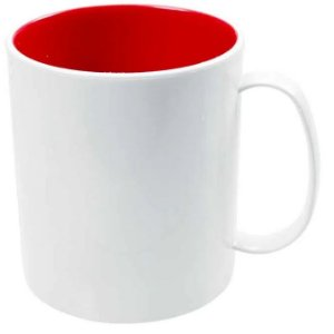 Caneca de Polímero Branca com Interior Vermelho 350ml P/ Sublimação - 01 Unidade