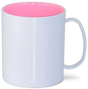 Caneca de Polímero Branca com Interior Rosa Bebê 350ml P/ Sublimação - 01 Unidade