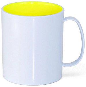 Caneca de Polímero Branca com Interior Amarelo Neon 350ml P/ Sublimação - 01 Unidade