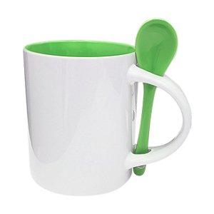 Caneca Cerâmica Branca para Sublimação Com Interior e Colher Em Verde Modelo Reto 354ml Shopvirtua3000® (595) - 36 Unidades (Caixa Fechada)