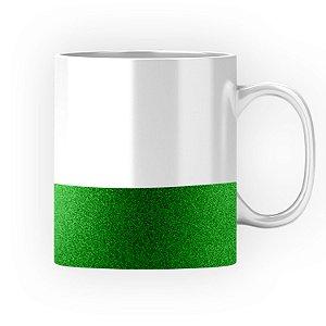 Caneca Cerâmica Base Glitter Verde ShopVirtua3000® 325ml Resinada P/ Sublimação (3310) - 01 Unidade