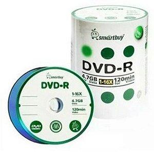 DVD-R SmartBuy 16x 4.7GB 120min Com Logo - Pino com 100 unidades