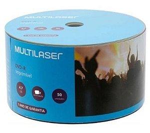 DVD-R Multilaser 16x 4.7GB 120min Multilaser - Pino com 50 unidades